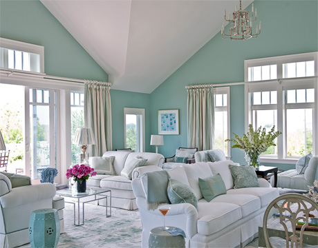 Gray and light blue living room