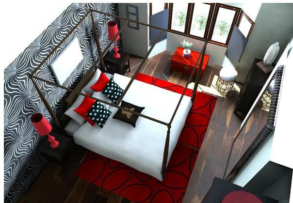red and black furniture  Home Decor